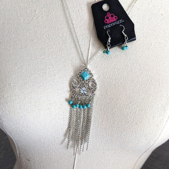 Turquoise + Silver Necklace and earrings